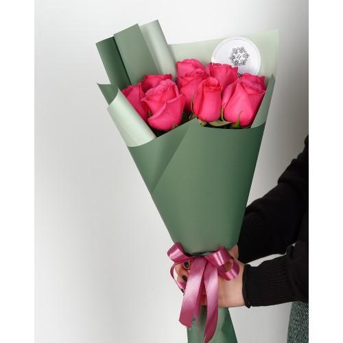 Купить на заказ Букет из 7 розовых роз с доставкой в Шемонаихе