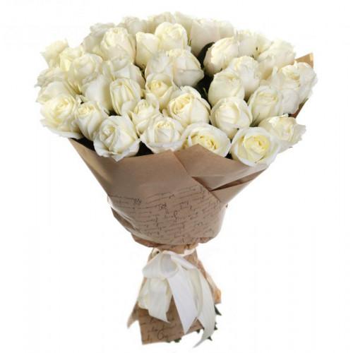 Купить на заказ Букет из 35 белых роз с доставкой в Шемонаихе