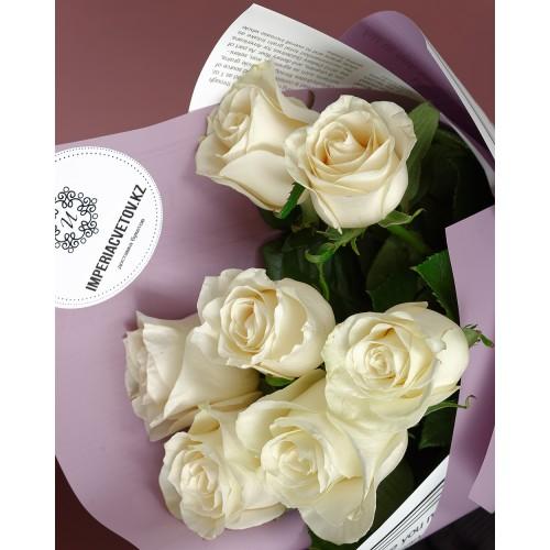 Купить на заказ Букет из 7 белых роз с доставкой в Шемонаихе